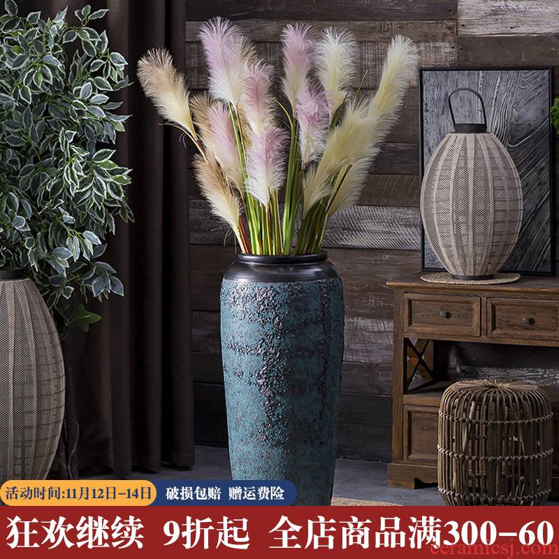 Heavy jingdezhen ceramic vase flower garden furnishing articles pottery urn sitting room ground large do old vintage flower pot