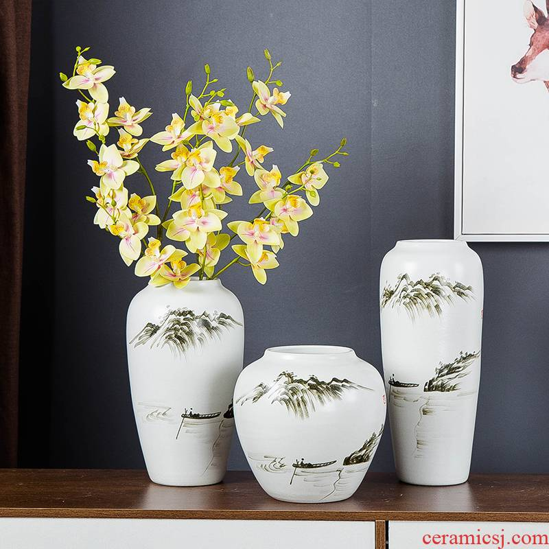 Jingdezhen hand - made ink painting in furnishing articles dried flower vase modern Chinese style household, sitting room porch decoration ceramics