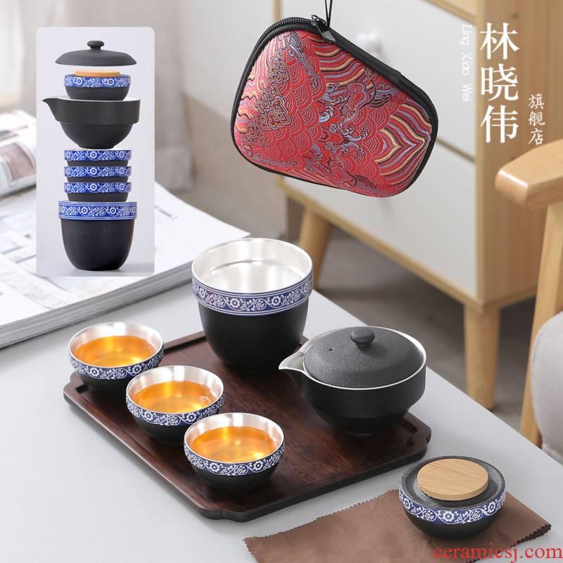Kung fu tea sets ceramic tea pot teapot Lin Xiaowei travel a pot of three cups of contracted portable crack cup