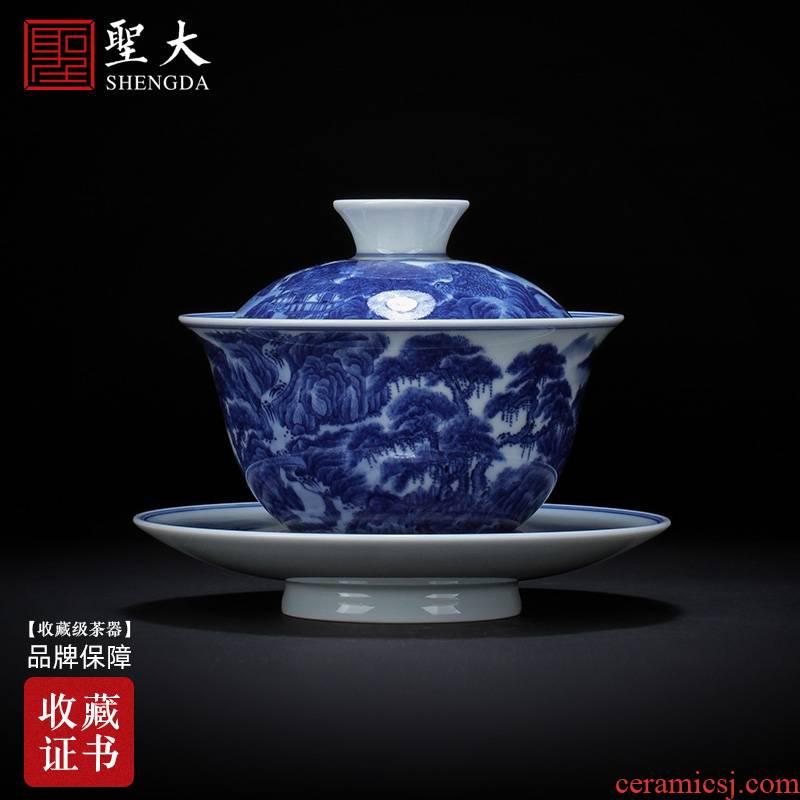 St large ceramic three tureen hand - made heavy blue on figure tureen tea bowl full manual of jingdezhen tea service