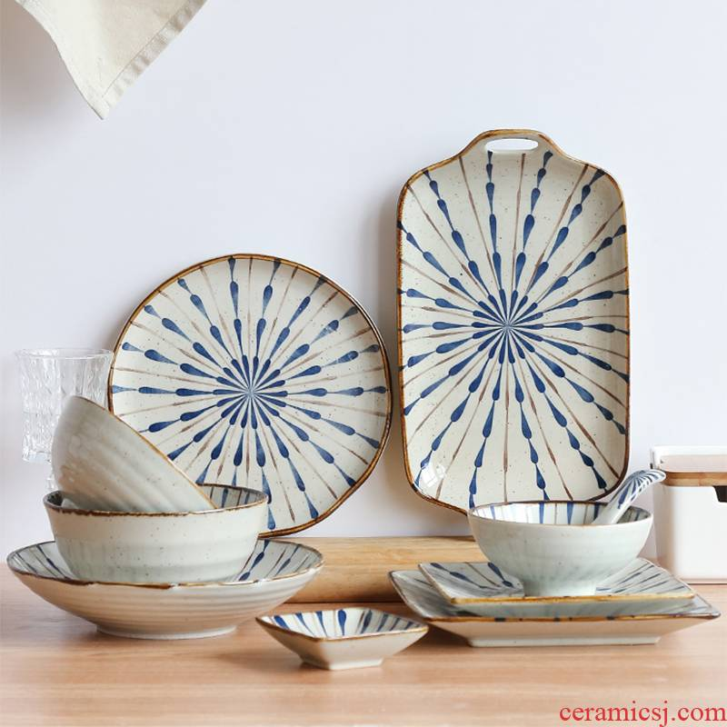 Li feng town petard Japanese household ceramics tableware suit bowl dish plate of noodles in soup dishes ceramic suit