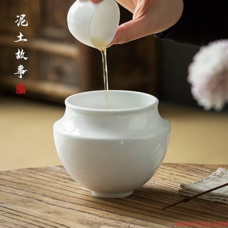 Sweet Bai Jianshui jingdezhen ceramic kung fu tea tea to wash the parts writing brush washer from household hot cup bowl cylinder water jar