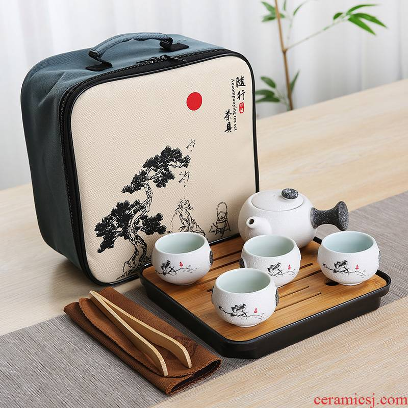 Ceramic is suing travel kung fu tea set suit portable bag contracted with snow a pot of four cups of custom wholesale