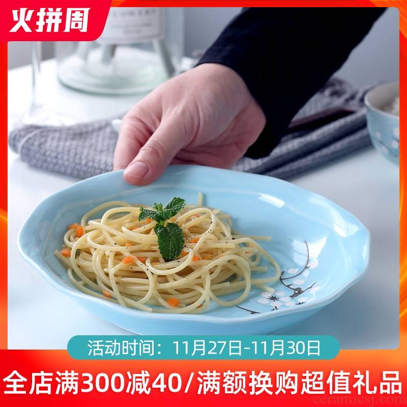 Ceramic dish dish dish home round disc creative move FanPan fish dishes soup plate microwave Japanese dishes