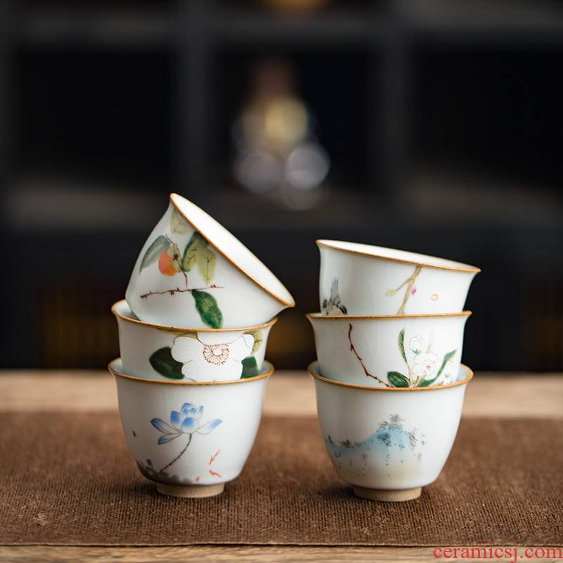 Every open your up cup can keep the master cup of jingdezhen ceramics by hand the cup personal single tasting cup sample tea cup