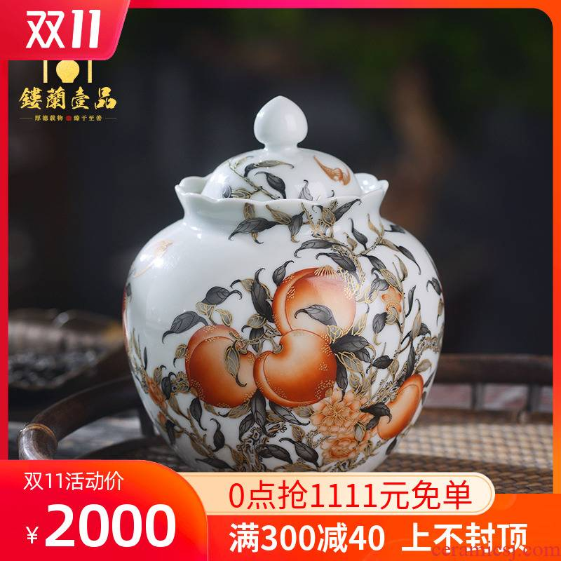 All hand - made paint nine peaches five bats alum red ink in the jingdezhen ceramics kung fu tea caddy fixings holding tank cover tank