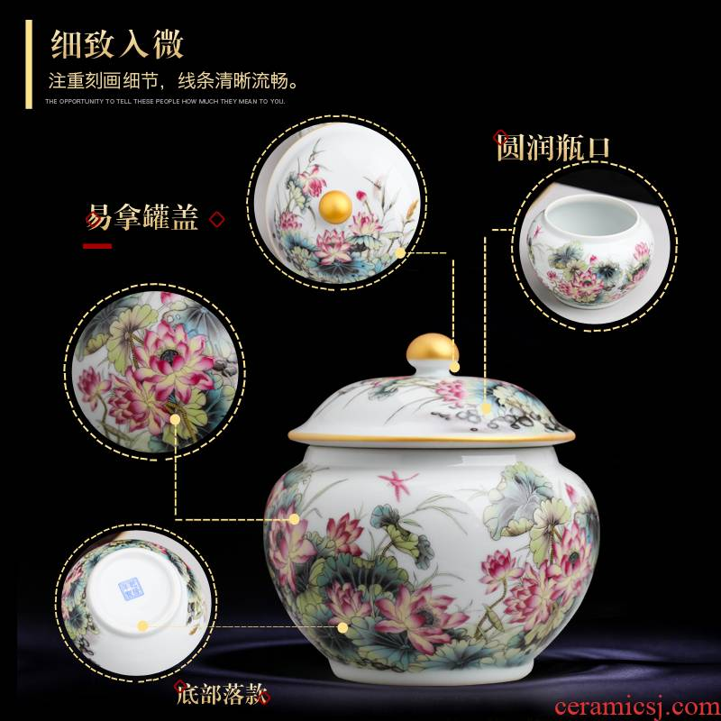 Jingdezhen ceramics tea canners trumpet a kilo of household puer tea to wake tea storage tanks with cover POTS