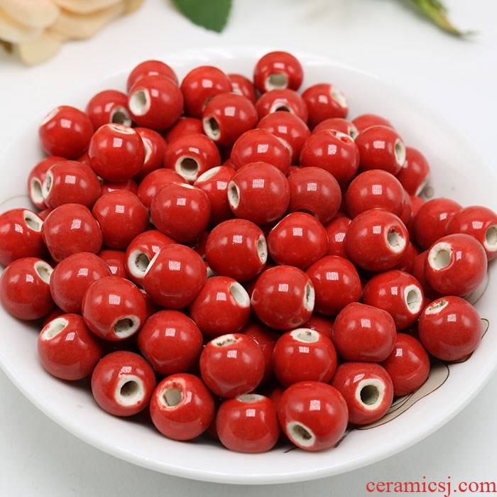 Big red beads bright red ceramic beads porcelain beads Chinese knot accessories large mail eye 6 mm ~ 12 mm