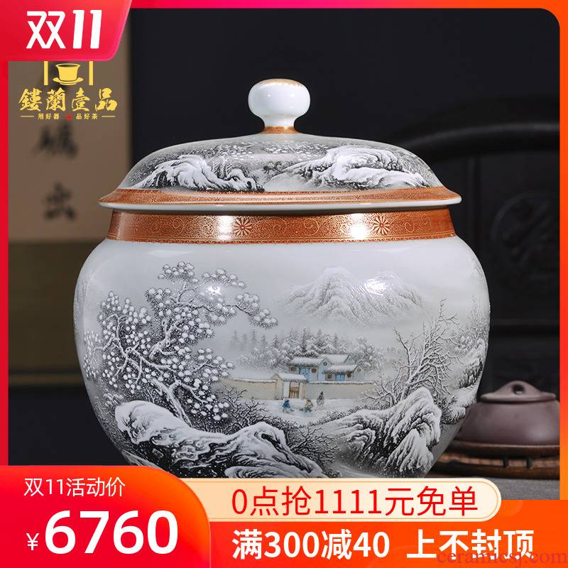 Jingdezhen ceramic manual color ink paint a snow did receive wake receives domestic tea caddy fixings seal