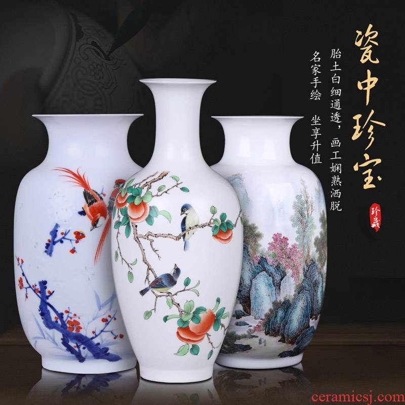Large famous jingdezhen ceramic vase hand - made Chinese style household living room TV ark, furnishing articles handicraft ornament