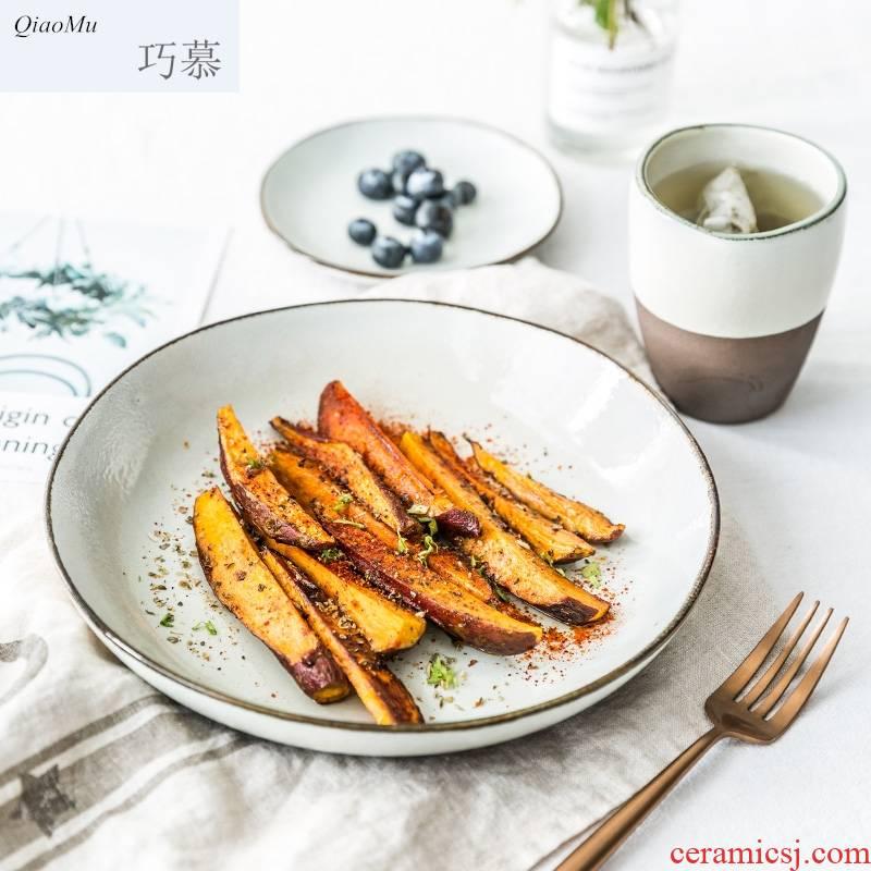 Qiam qiao mu household ceramics Nordic soup bowl of soup dish plate large rainbow such use creative irregular salad bowl