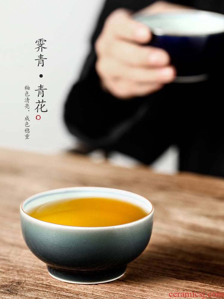 Jingdezhen manual cup host teacups hand - made ceramic cup single cup large blue and white kung fu ji blue sample tea cup men 's