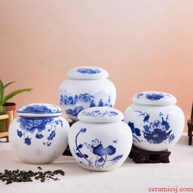 Shadow enjoy ceramic tea pot jingdezhen blue and white porcelain small mini portable circular tanks seal tea storage tanks