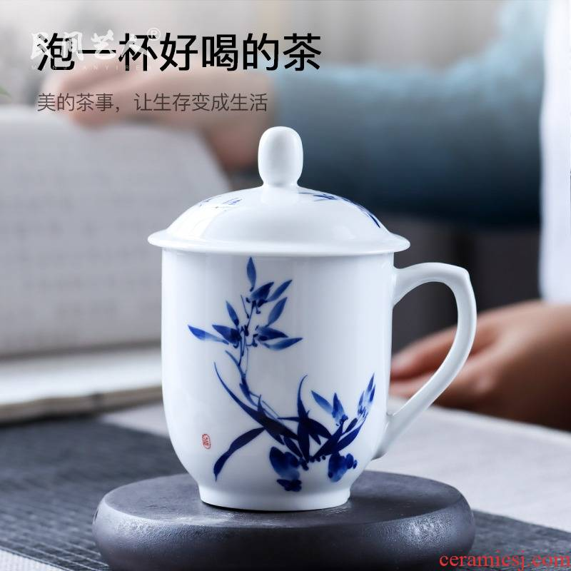 Jingdezhen ceramic hand - made porcelain office cup of blue and white porcelain tea set large handle office tea cups