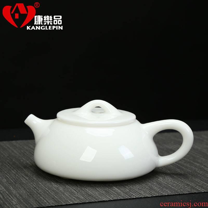 Recreational product white porcelain little shih tzu kung fu tea set large jade pot of dehua porcelain ceramics filter stone pot of single teapot