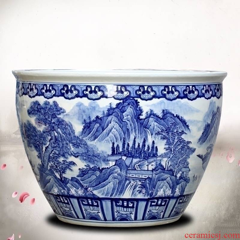 Jingdezhen ceramics sitting room aquarium archaize large blue and white landscape water lily tortoise hand - made cylinder tank yard wind
