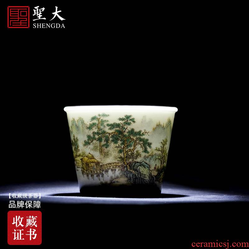 St the ceramic kongfu master cup hand - made pastel remote mountain attendants cylindrical cup sample tea cup of jingdezhen tea service by hand