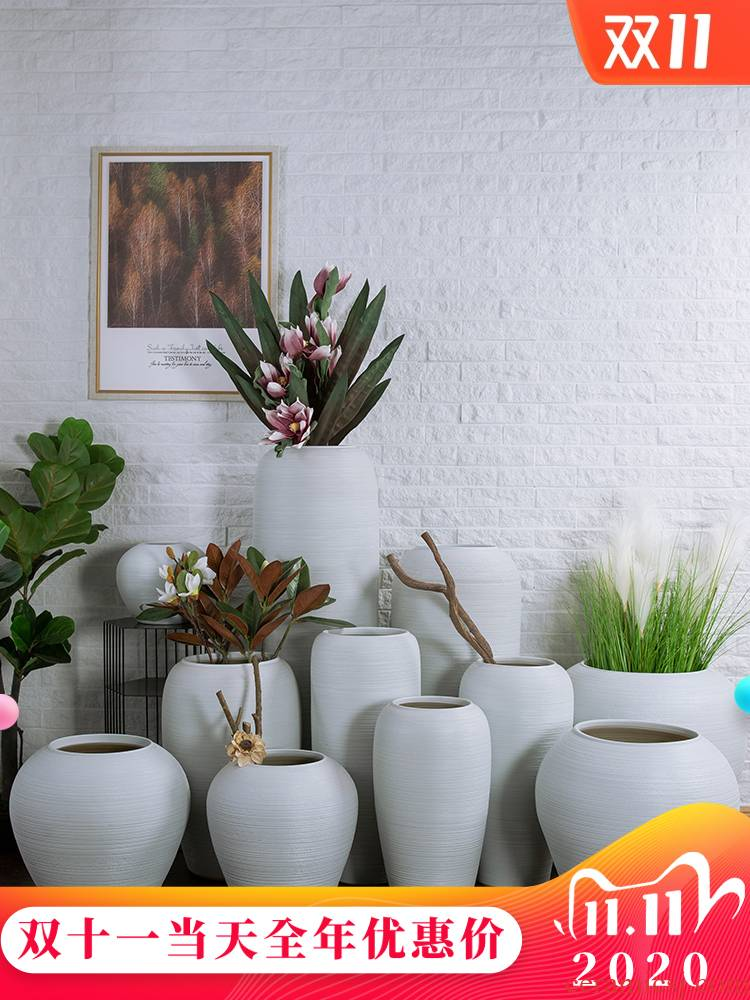 Jingdezhen ceramic manual floor vase zen flower POTS restaurants hotel villa landscape ceramic cylinder jars