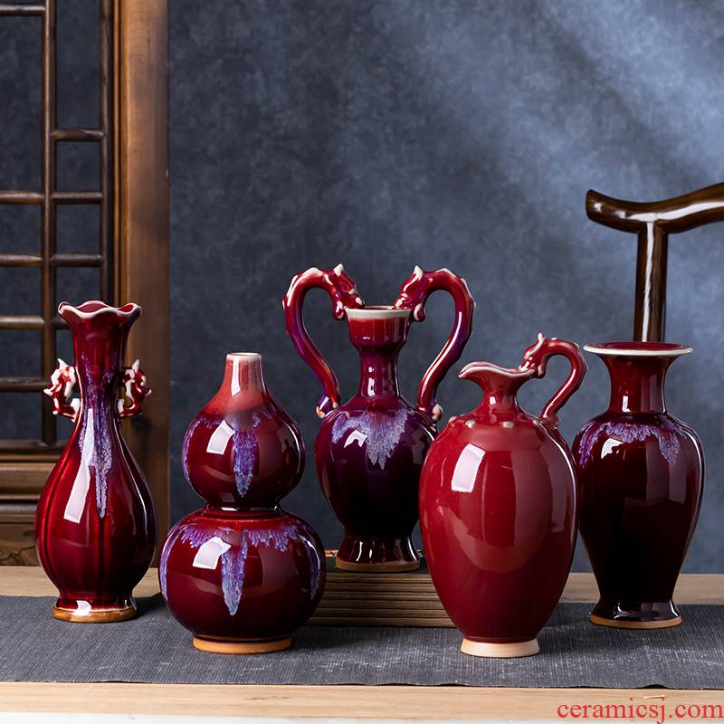 Jingdezhen ceramics jun porcelain antique red flower flower arranging wine bottle of Chinese style living room household adornment furnishing articles