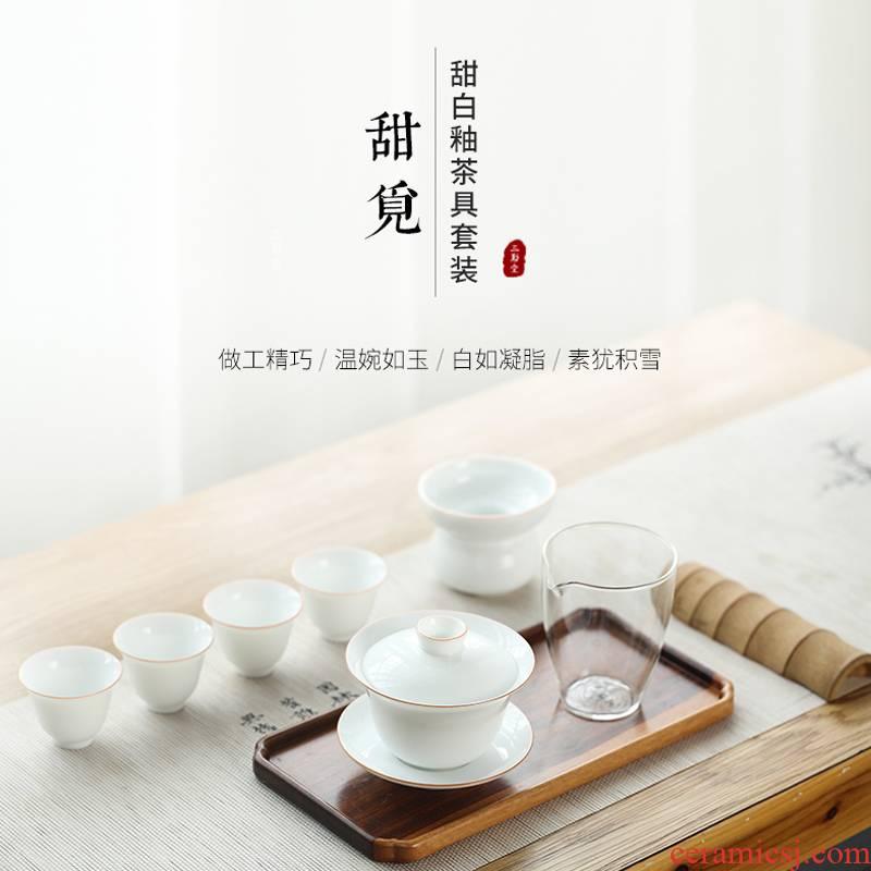 Three frequently kung fu tea set # jingdezhen ceramic cups tureen 7 head sweet the whole set of craft fair keller set