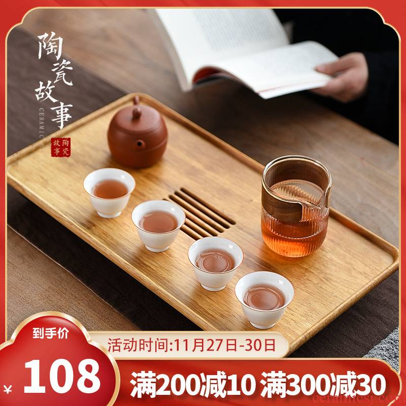 Ceramic plate of Japanese bamboo tea tray was drop story solid wood tea sea household water pumping pull small dry tea table