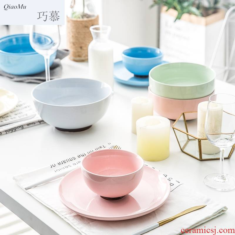 Qiam qiao mu Japanese tableware ceramic bowl bowl mercifully rainbow such use household eat a large bowl bowl, lovely salad bowl