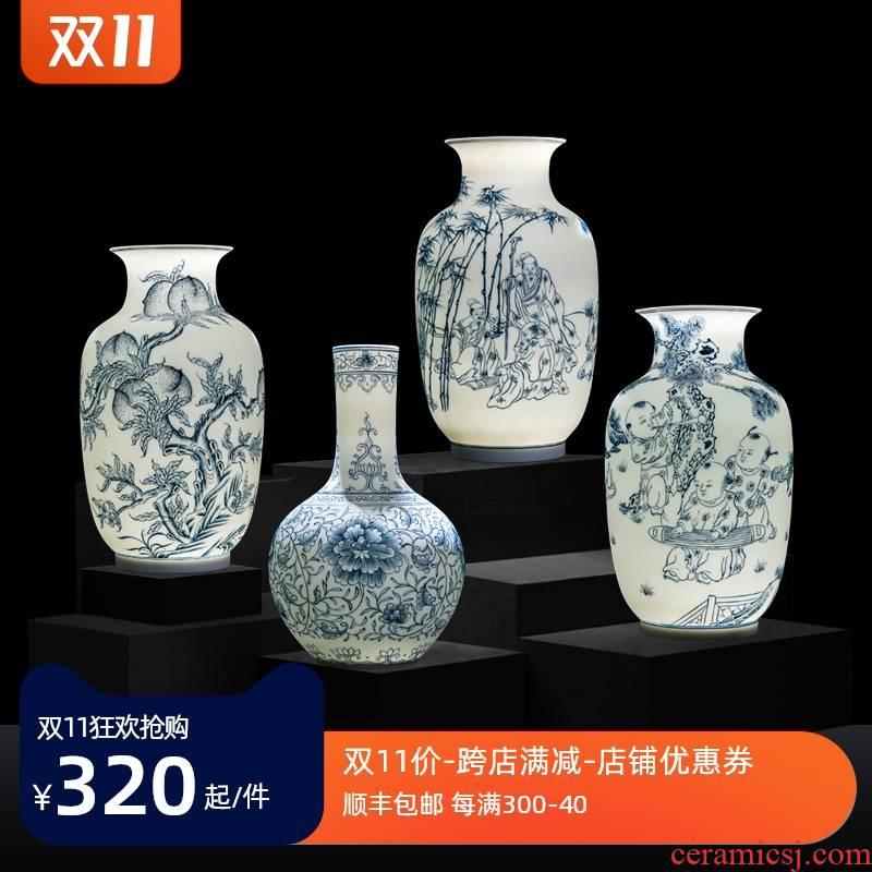 Vase furnishing articles flower arrangement sitting room adornment creative bottles of jingdezhen ceramic vases, tea table of Chinese style