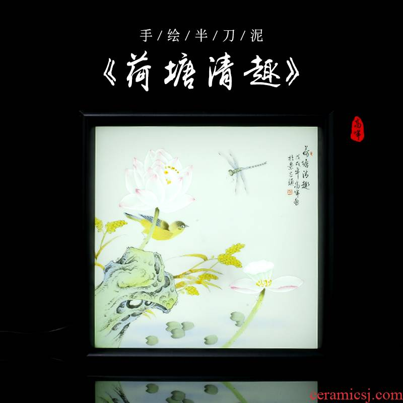 Hand - made jingdezhen ceramics knife clay furnishing articles of new Chinese style manual luminous table flower and - bird painting decorative arts and crafts