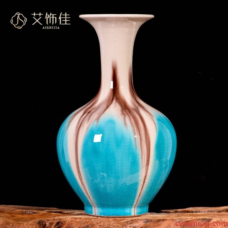 Jingdezhen ceramic up crack borneol blue vase creative home TV ark, the sitting room porch handicraft furnishing articles