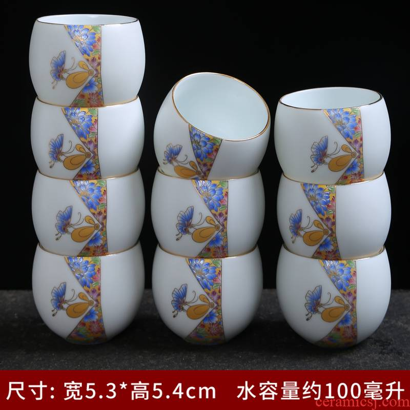 White porcelain up kung fu tea set ceramic cups large cup six household contracted celadon tea taking master CPU