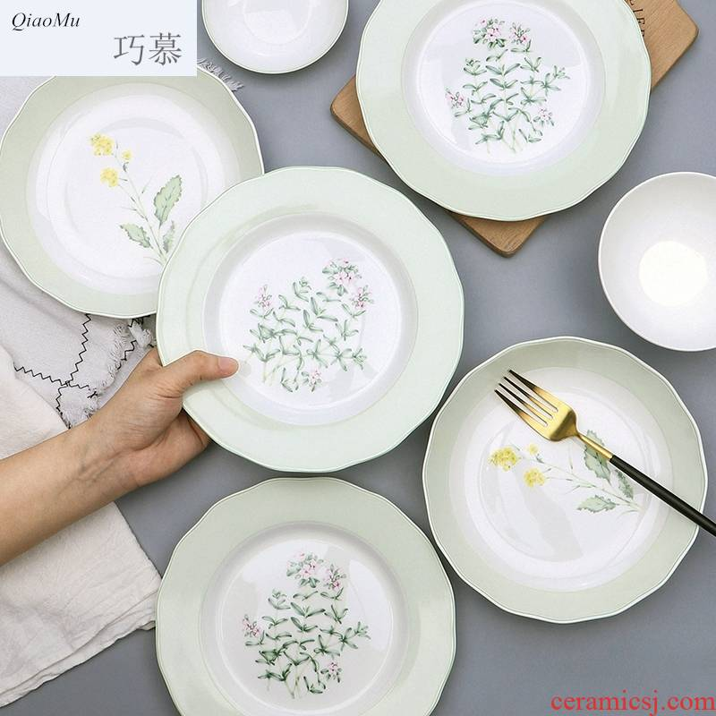 Qiao mu jingdezhen Chinese ipads porcelain tableware suit household ceramics dishes suit creative lotus expressions using tray