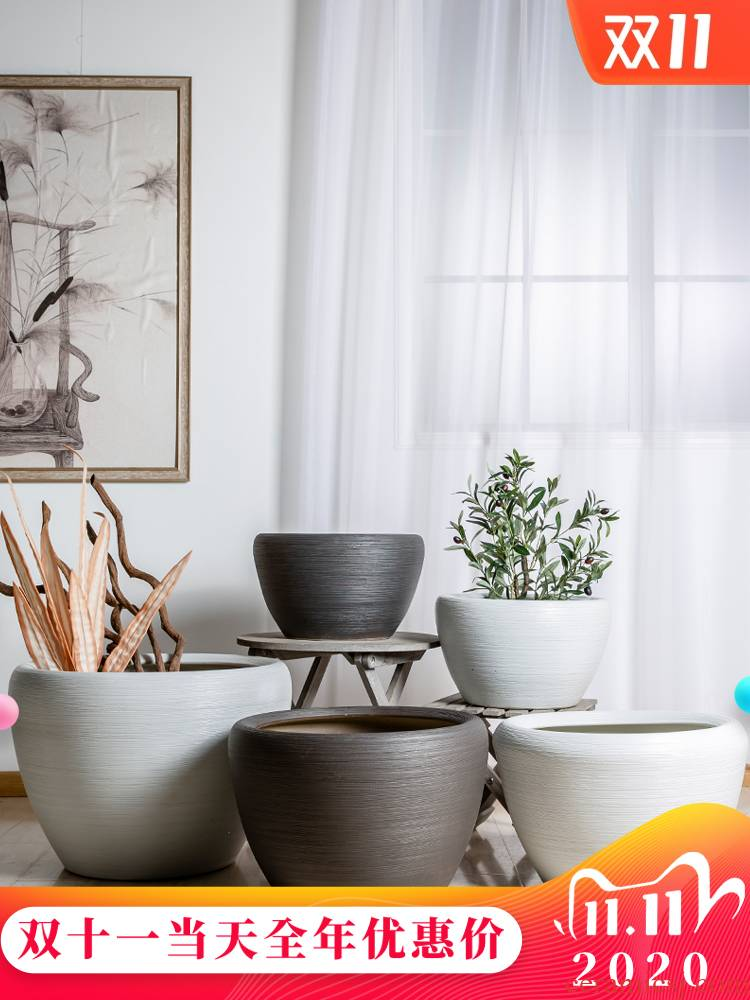 Jingdezhen ceramic basin of water lily bowl lotus lotus turtle cylinder brocade carp goldfish bowl painting and calligraphy cylinder furnishing articles in the living room
