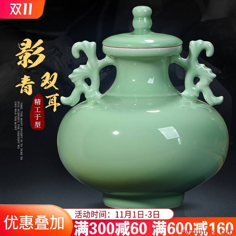Jingdezhen ceramics by hand shadow blue glaze ears live storage tank craft decoration of Chinese style household furnishing articles