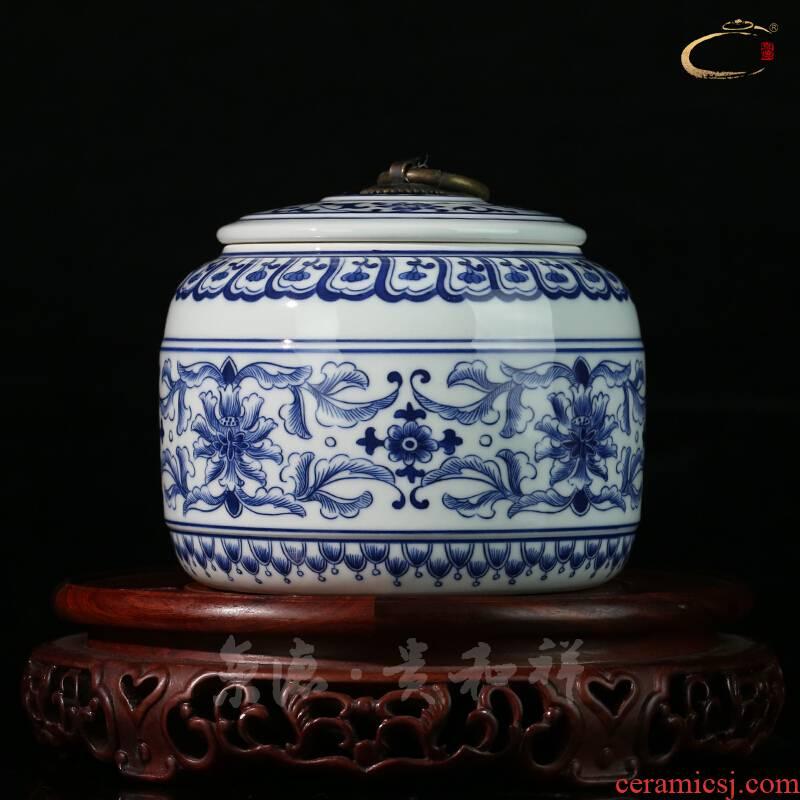 Jing DE and auspicious caddy fixings jingdezhen porcelain bound branch lotus can of pure checking gift porcelain ceramic POTS