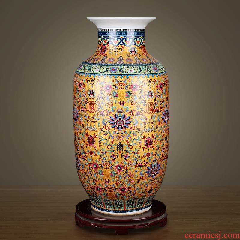 Jingdezhen ceramics enamel idea gourd vases furnishing articles sitting room of Chinese style household TV ark, flower arranging office decoration