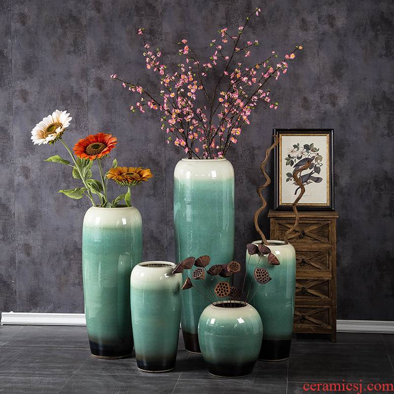 Jingdezhen porcelain vase of large Chinese style restoring ancient ways creative furnishing articles pottery living room decoration to the hotel courtyard flower arrangement