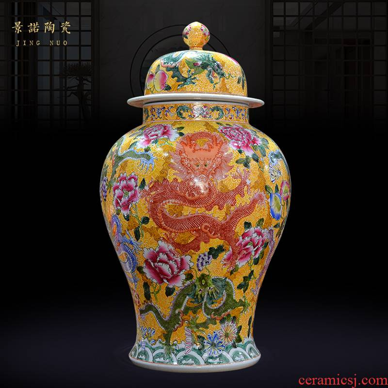 Jingdezhen ceramics archaize the qing qianlong enamel dragon grain general pot vase Chinese crafts are sitting room