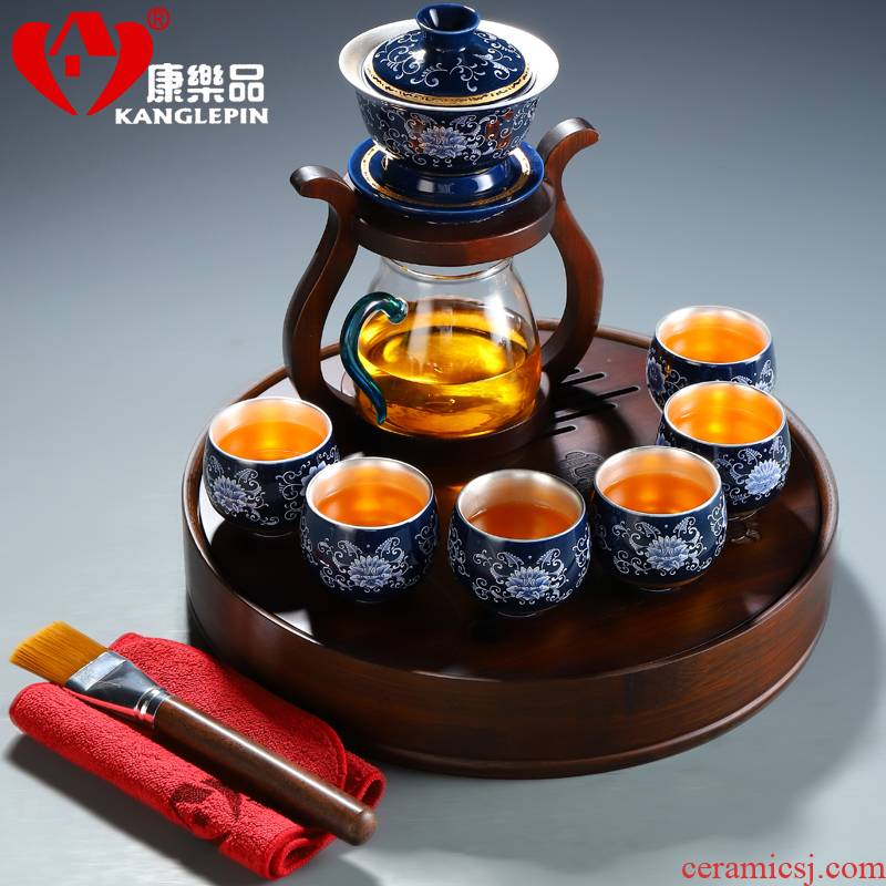 Recreational product ceramic tea set household enamel tasted silver gilding kunfu tea lazy glass tea cup tea tray automatically