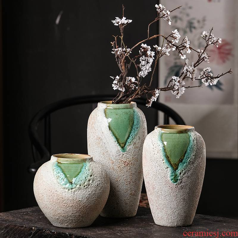 New Chinese style restoring ancient ways of jingdezhen ceramics creative household adornment manual crackle three - piece vase furnishing articles