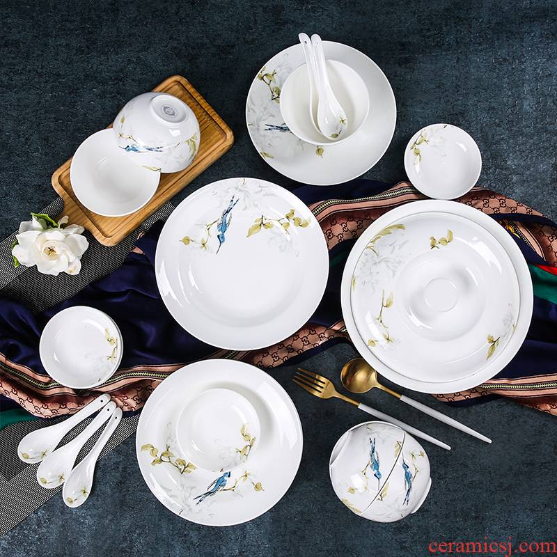 The spirit of green shadow enjoy 】 【 Chinese ipads porcelain tableware suit ceramic home dishes suit six people YQ