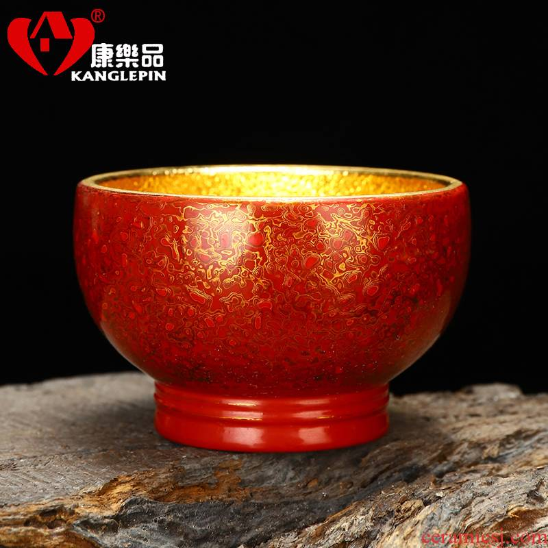 Recreation is tasted Chinese lacquer rhinoceros leather technology capacity of 140 ml of Chinese lacquer violet arenaceous gold cup sample tea cup lacquer tea set