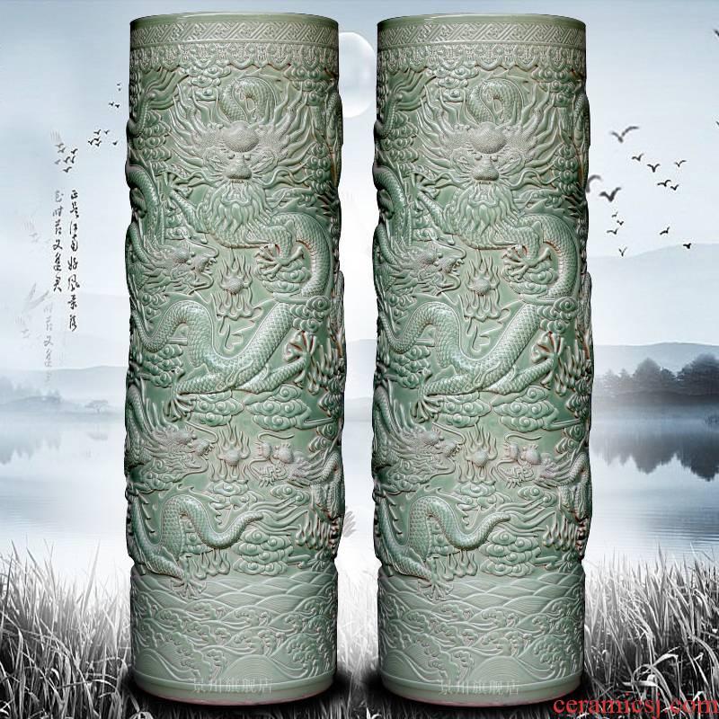 Jingdezhen ceramics engraving longqing was glaze antique flying show bead straight landing big vase opening furnishing articles quiver