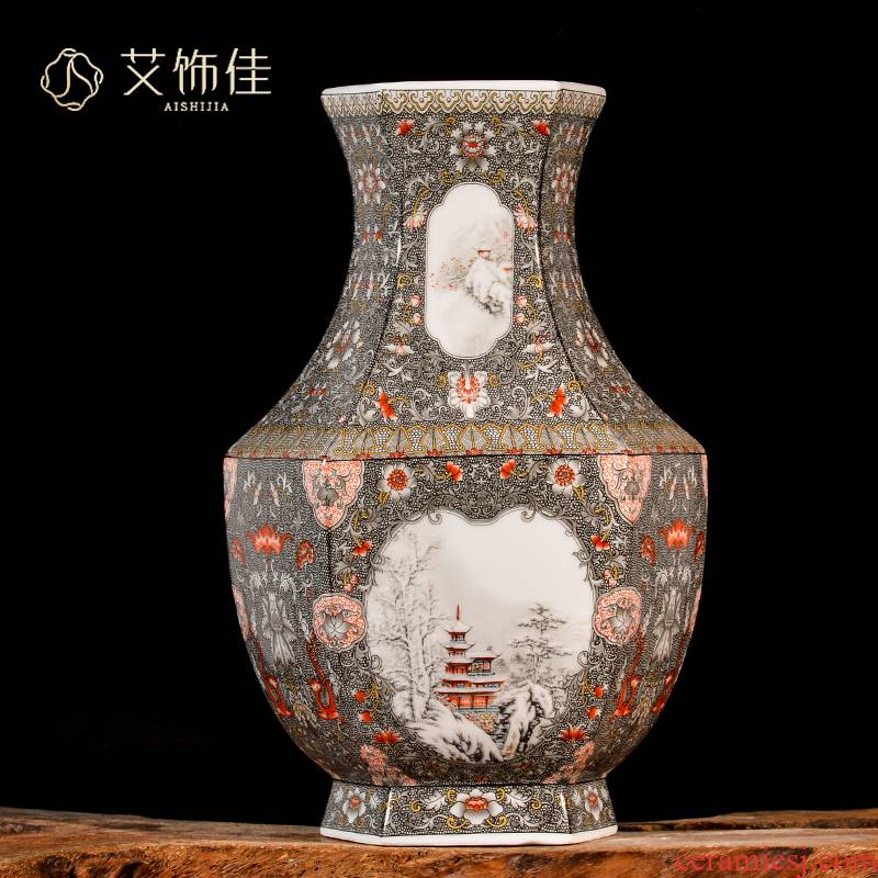 Jingdezhen enamel made pottery flower arrangement of the study of new Chinese style household porcelain vase, the sitting room porch decoration handicraft furnishing articles