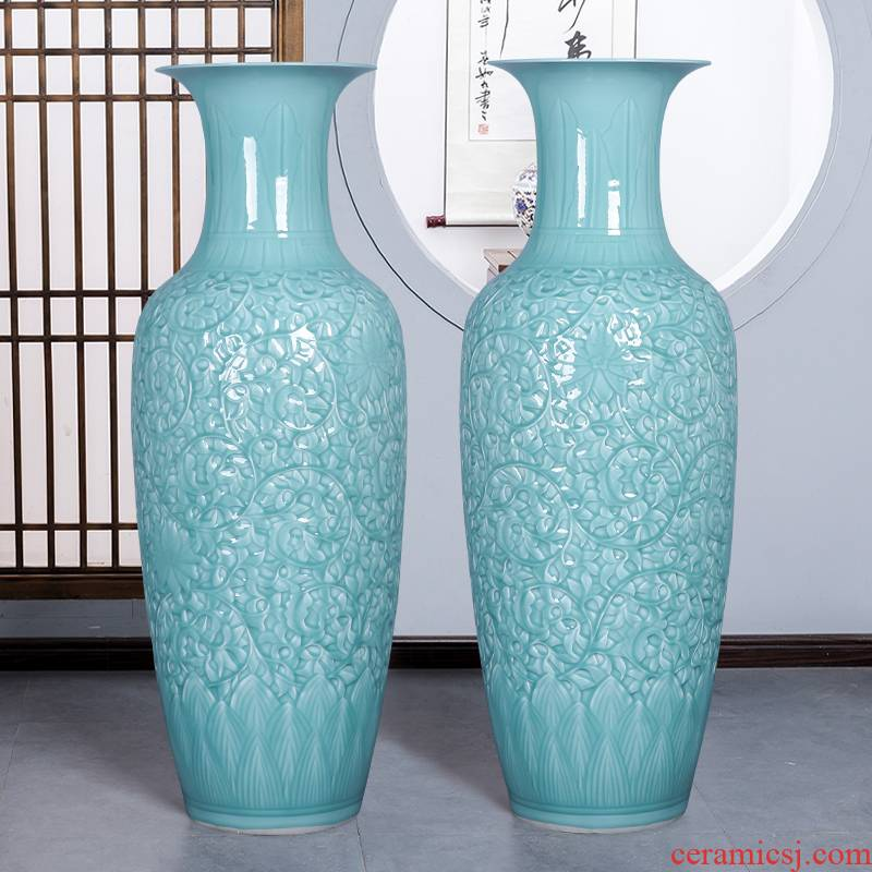 Jingdezhen ceramics craft anaglyph celadon big vase landed furnishing articles large green glaze office sitting room adornment