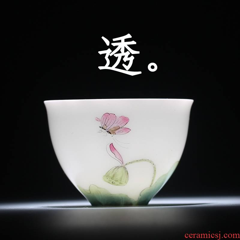 The Fire master cup one thousand cups of jingdezhen ceramic tea set kung fu tea cup flower bloom sample tea cup white porcelain