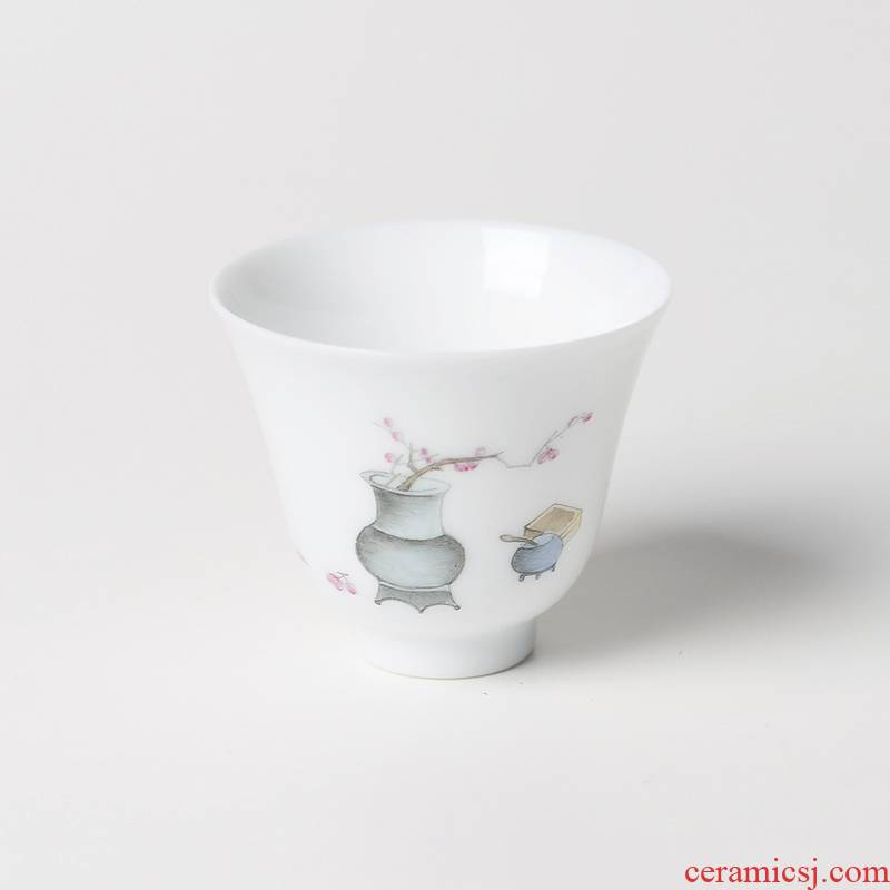 One thousand fire kung fu tea cups of jingdezhen ceramic sample tea cup hand - made bluish white porcelain tea cups personal single CPU