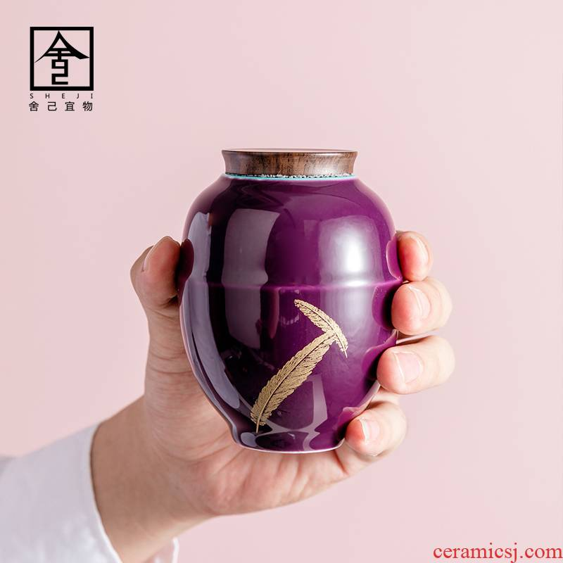 """The Self - """"appropriate content caddy fixings gold feather platycodon grandiflorum violet POTS of jingdezhen seal pot small Japanese ceramic pot"""
