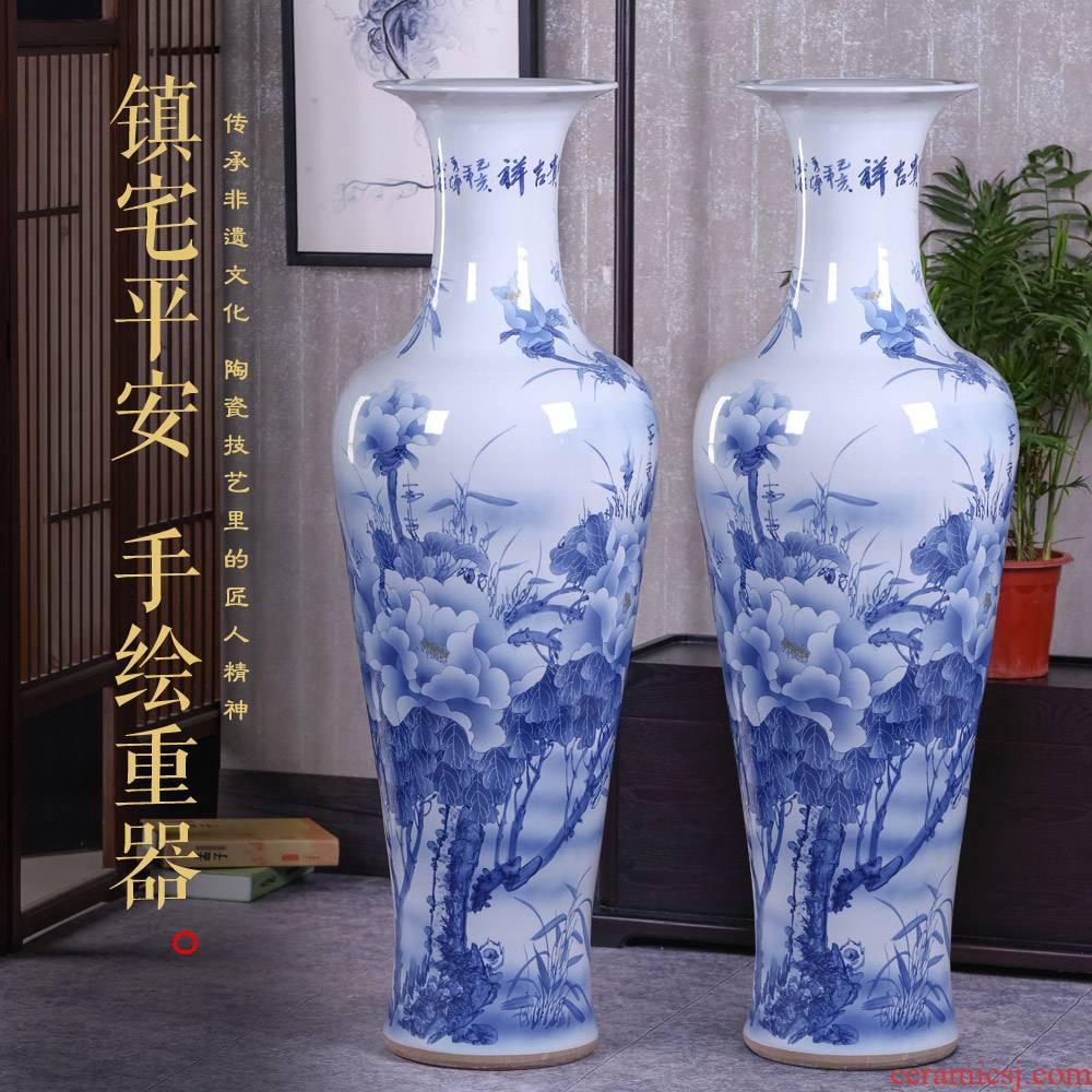 Jingdezhen ceramic Chinese hand - made porcelain landing big vase peony sitting room place hotel opening housewarming gift