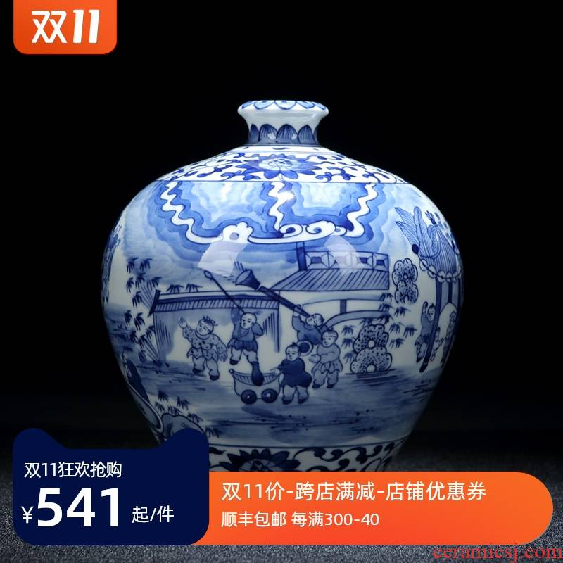 Jingdezhen ceramic vase flower arrangement sitting room decoration decoration household large antique firewood blue and white vase the ancient philosophers