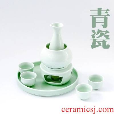 Qiao mu home 3 two belts base ceramic wine bottle temperature wine wine liquor cup warm wine bottle wine set porcelain
